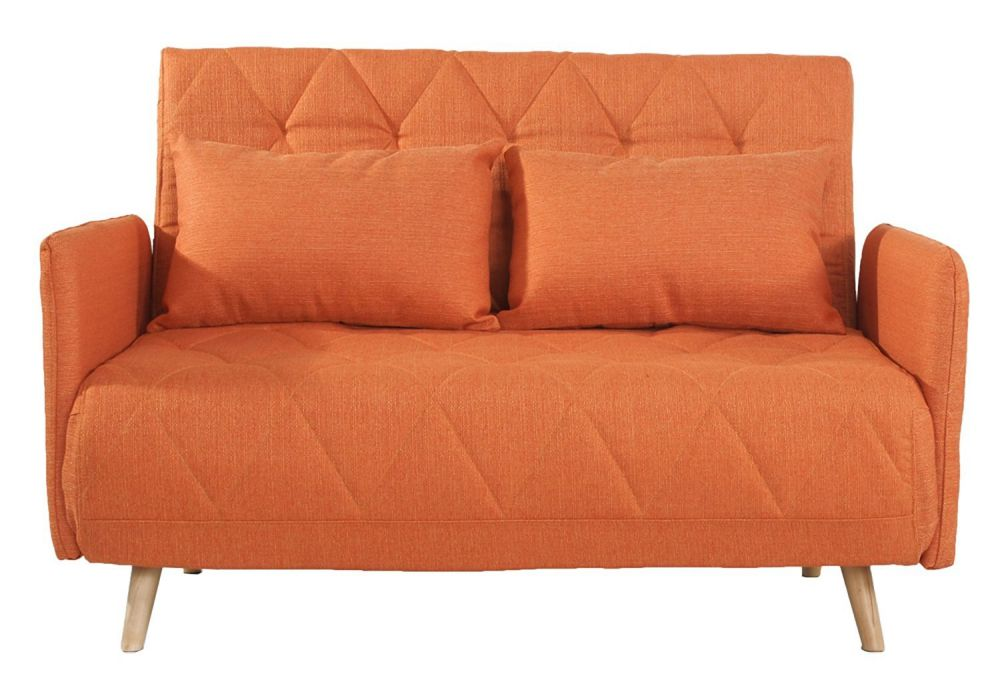 Adeco Fabric Fiber Sofa Bed Sofabed Lounge with Arm, Soft Cushion, Living Room Seat, Wood legs, Orange