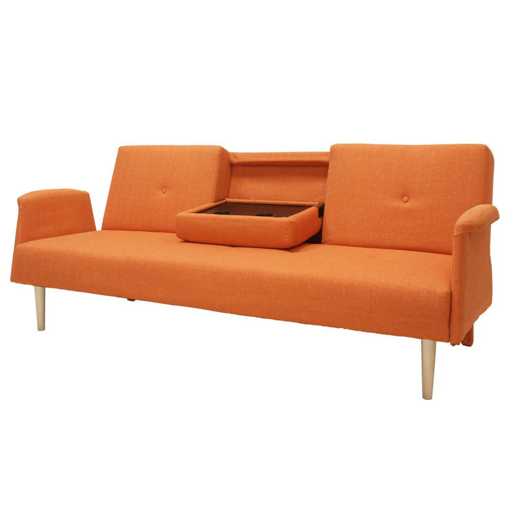 Adeco Fabric Fiber Sofa Bed Sofabed Lounge with Arm, Soft Cushion, Living Room Seat, Wood legs, Dark Orange