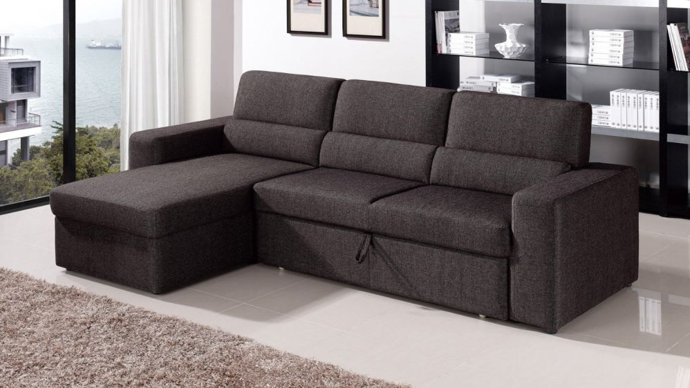 Black/Brown Clubber Sleeper Sectional Sofa - Left Chaise