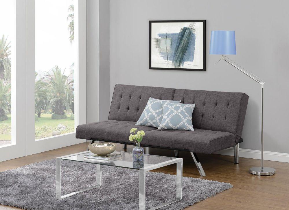 DHP Emily Convertible Linen Futon, Gray