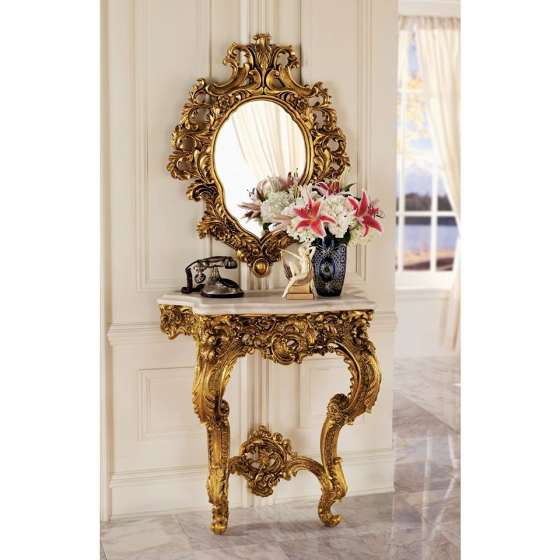 Design Toscano Madame Antoinette Wall Console Table and Salon Mirror Set