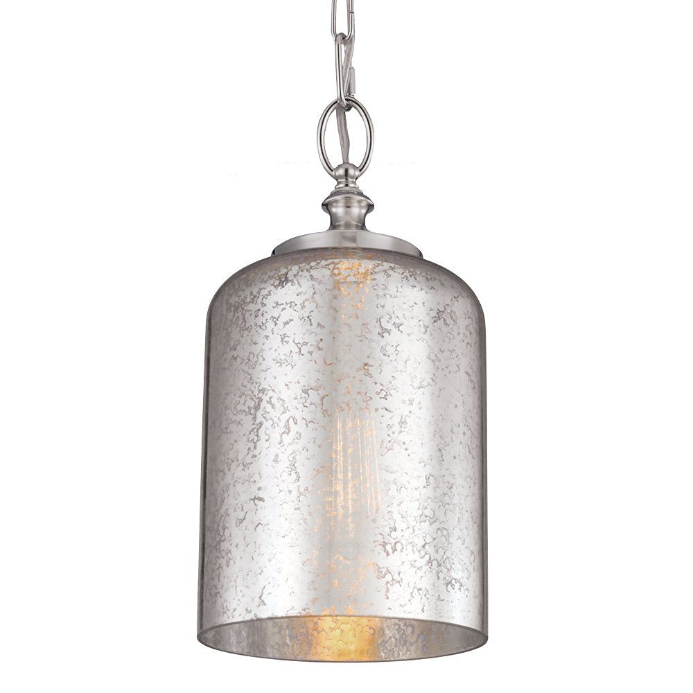 Feiss P1320PN 1-Light Hounslow Mini Pendant with Silver Mercury Glass, Polished Nickel
