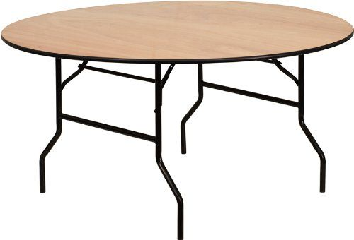 Flash Furniture YT-WRFT60-TBL-GG 60-Inch Round Wood Folding Banquet Table with Clear Coated Finished Top, Black