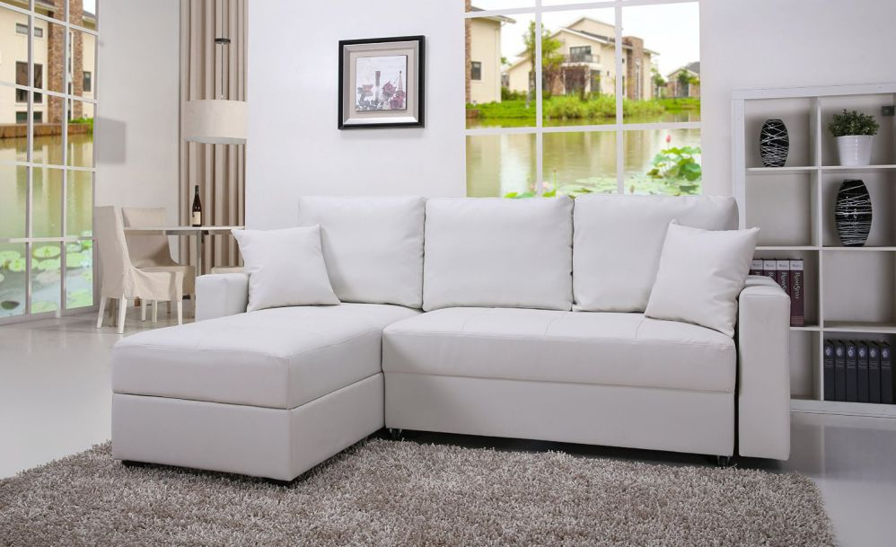 Gold Sparrow Aspen Convertible Sectional Storage Sofa Bed, White