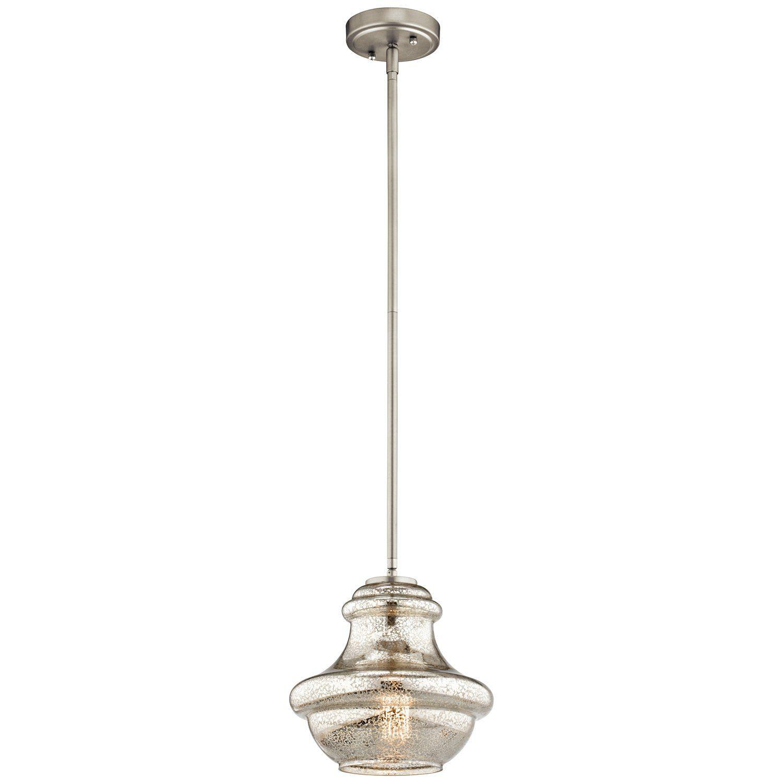 Kichler Lighting 42167NIMER Everly 1LT Pendant, Brushed Nickel Finish with Mercury Glass
