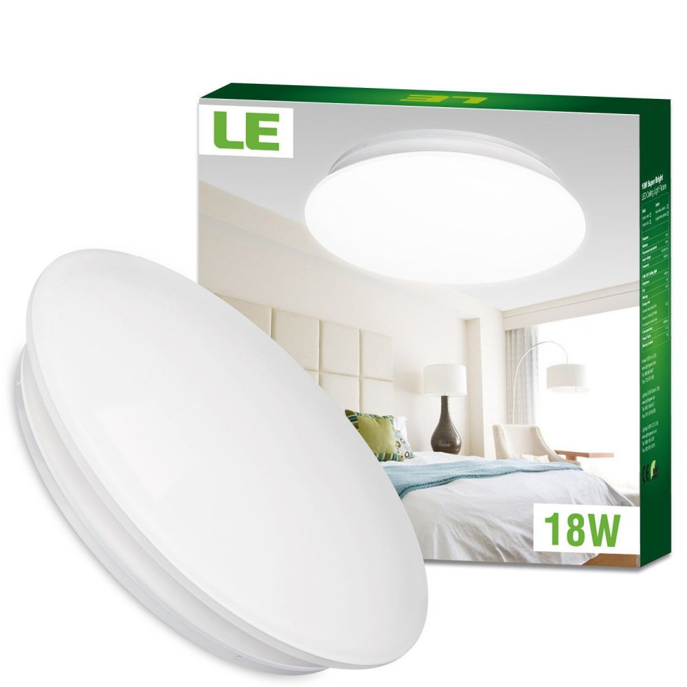 LE 18W 14-Inch Daylight White LED Ceiling Lights, 120W Incandescent (40W Fluorescent) Bulb Equivalent, 1450lm, 6000K, Ceiling Light Fixture, Ceiling Lighting, Flush Mount Light for Living Room