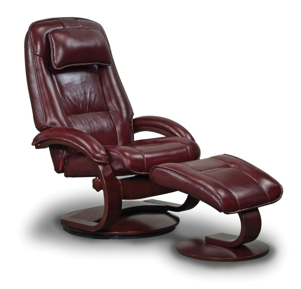 Mac Motion Chairs Model 2-Piece Recliner with Matching Ottoman Merlot Leather with Alpine Frame