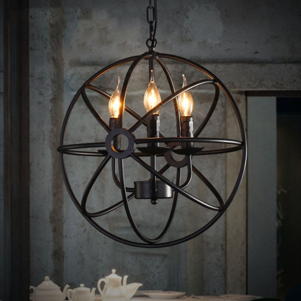 Perfectshow 4-lights Vintage Edison Metal Shade Round Hanging Ceiling Chandelier Retro Iron Rustic Spherical Pendant Light Kitchen Island