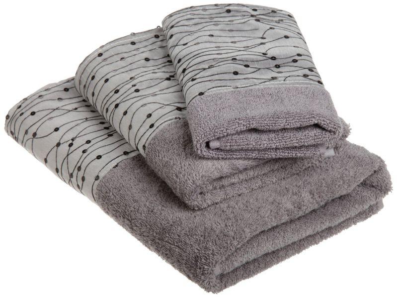 Popular Bath Corbel 3-Piece Towel Set, Silver/Black