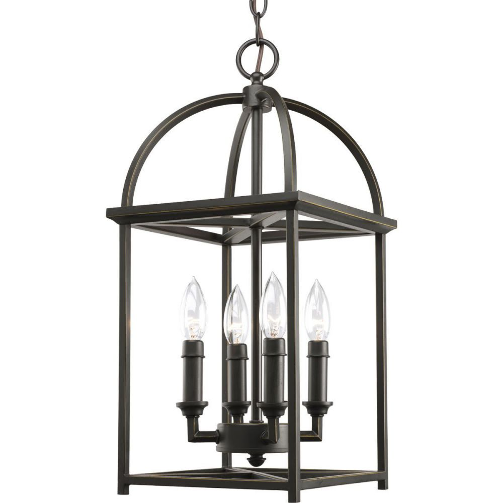 Progress Lighting P3884-20 4-Light Piedmont Foyer Lantern, Antique Bronze
