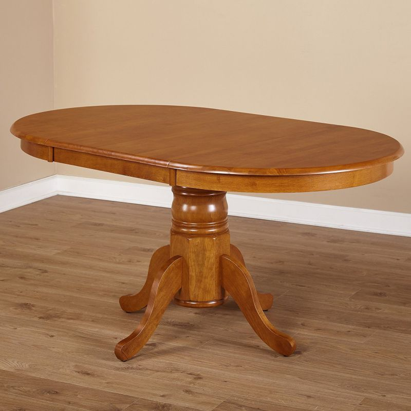 Simple Living Oak Rubberwood Round/ Oval Farmhouse Dining Table