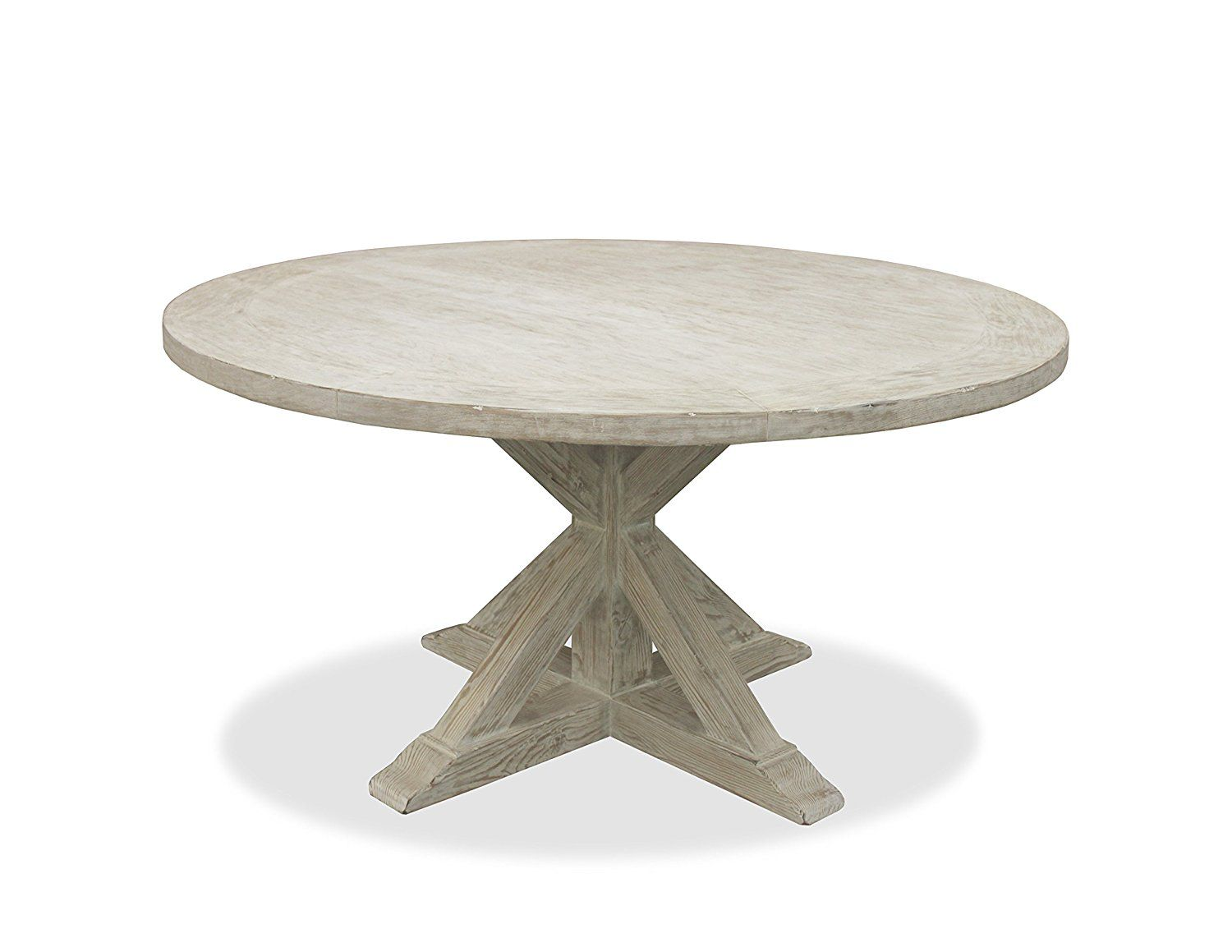 "South Cone Home Bayliss Round Dining Table, 60"", White"