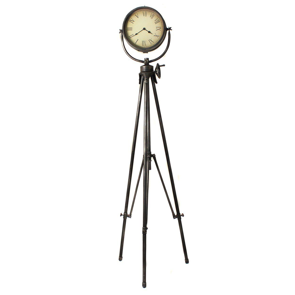 Urban Designs Large Weathered Industrial Studio Tripod Floor Clock