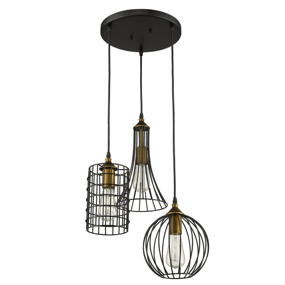 YOBO Lighting Antique 3-lights Island Oil Rubbed Bronze Chandelier Wire Cage Pendant Light
