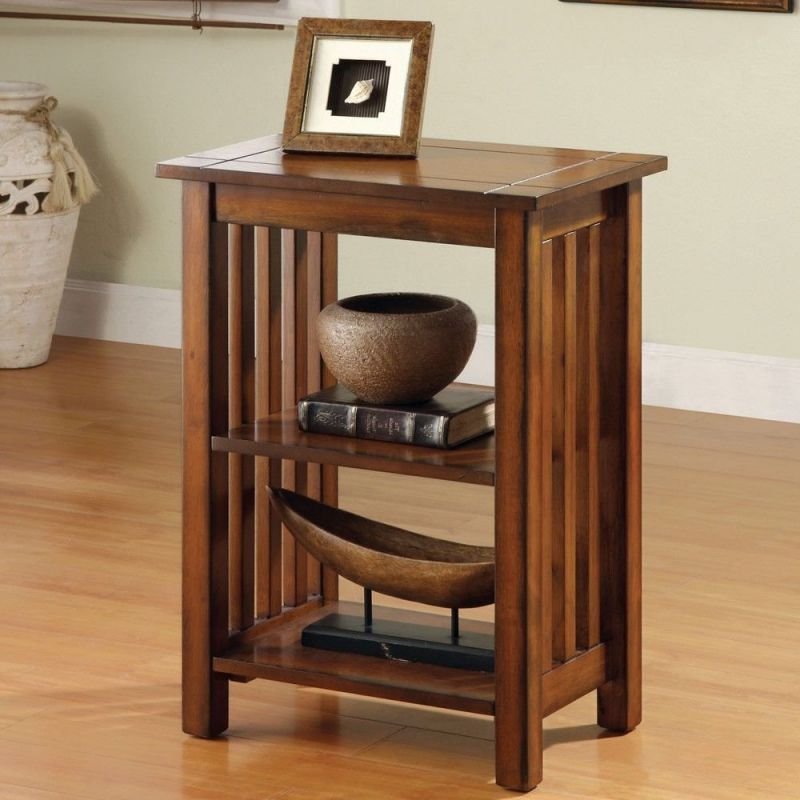 1PerfectChoice Mission Antique Oak Solid Wood Hallway Telephone Plant Stand Snack Table Shelves