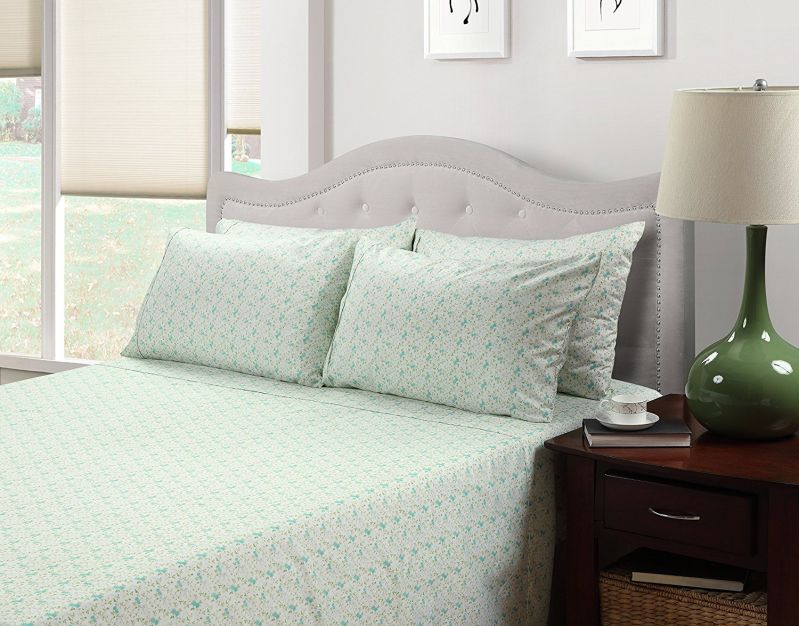 214 West Easy Care Brushed Sheet Set, King, Aqua Floral Print