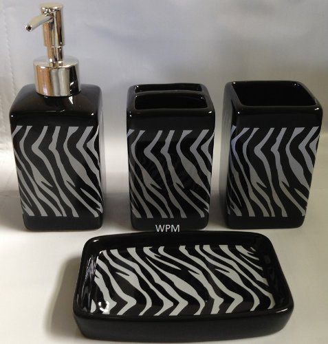 4 Piecen Ceramic Bath Accessory Set: Soap Dispenser, Tumbler, Toothbrush Holder, Soap Dish- Black White Zebra Animal Print