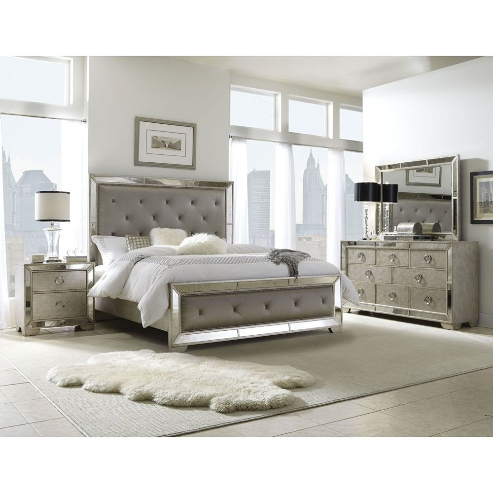 5-piece Mirrored and Upholstered Tufted Queen-size Bedroom Set