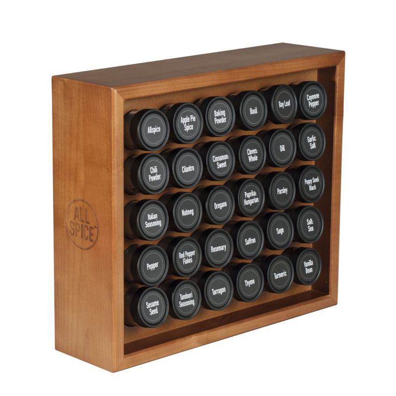 AllSpice Wooden Spice Rack, Includes 30 4oz Jars- Cherry Stain