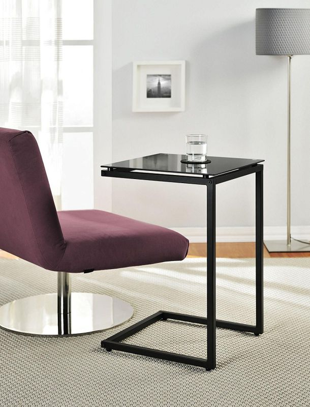 Altra Crane Glass Top C Table, Black