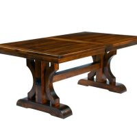 Amish Barstow Rustic Plank Trestle Solid Wood Dining Table (Red Oak)