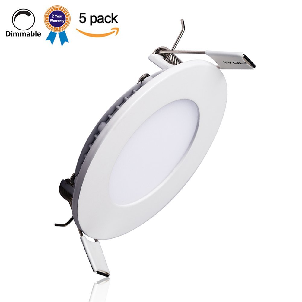 B-right Pack of 5 Units 12W 6-inch Dimmable Ultra-thin Round LED Panel Light, 850lm, 80W Incandescent Equivalent, 3000K Warm White, LED Recessed Ceiling Lights for Home, Office, Commercial Lighting