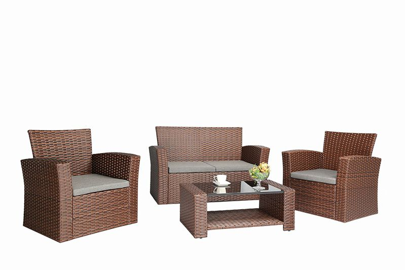 Baner Garden (N87) 4 Pieces Outdoor Furniture Complete Patio Cushion Wicker Rattan Garden Set, Full, Brown