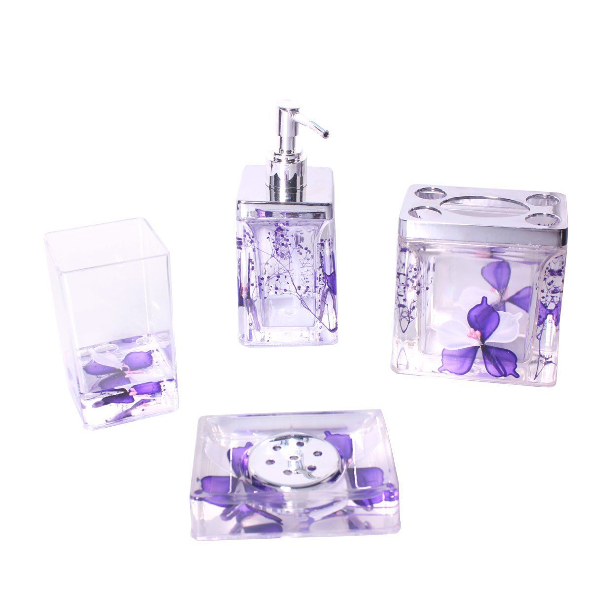 Bathroom 4 Pieces Accessories Set with Lovely Flower (purple)