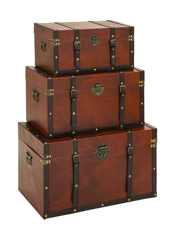 Benzara Timeless Designed Wood Leather Trunk, Set of 3
