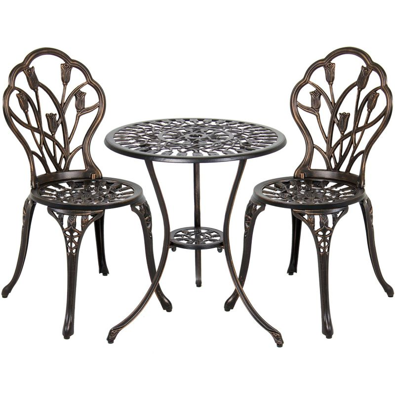 Best Choice Products Outdoor Patio Furniture Tulip Design Cast Aluminum Bistro Set in Antique Copper