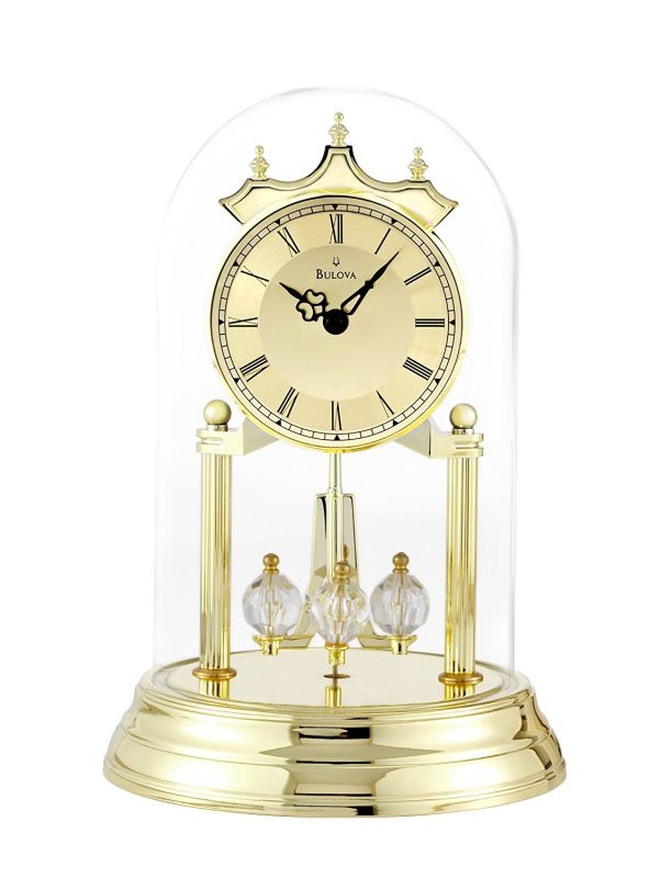 Bulova B8818 Tristan I Clock, Polished Brass Finish