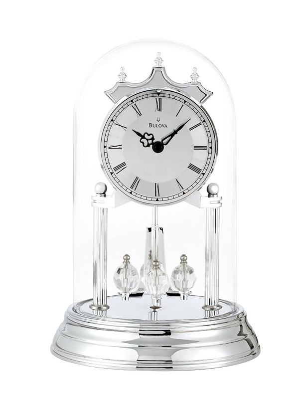 Bulova B8819 Tristan II Clock, Chrome Finish