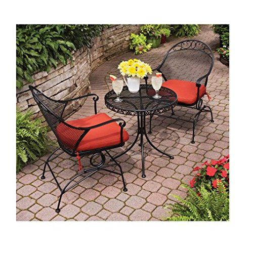 Clayton Court 3-Piece Motion Outdoor Bistro Set, Red, Seats 2