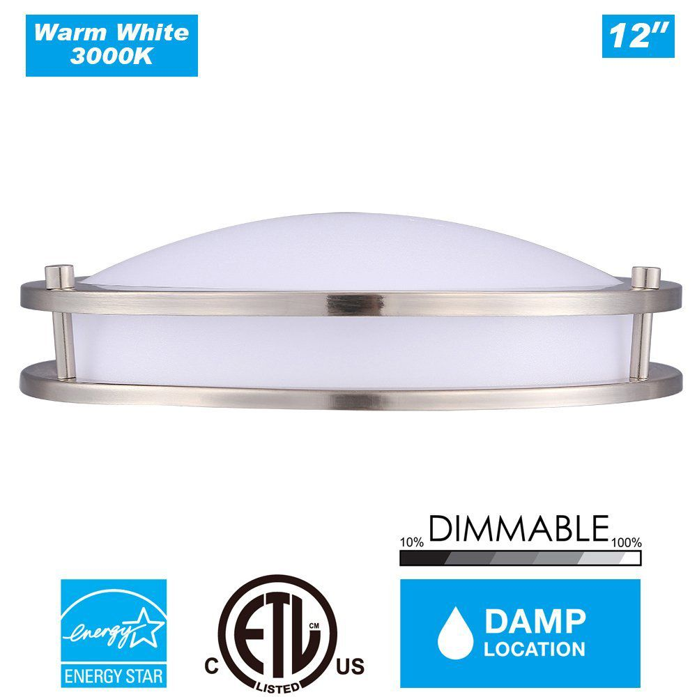 Cloudy Bay® DCO1215830BN 12-inch 3000K Warm White Dimmable 15W 1050lm LED Flush Mount Ceiling Fixture -120W Incandescent Equivalent, ETL Energy Star LED Saturn Flush Mount , Brushed Nickel