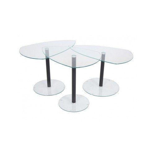 Cocktail Table Set of 3 Modern Glass Nesting End Tables