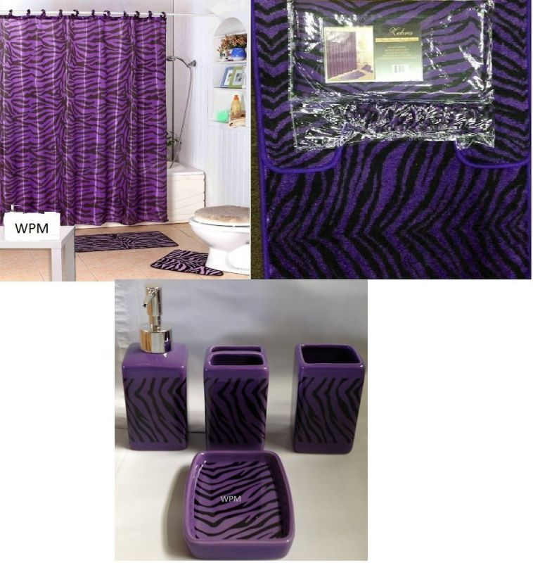 Complete Bath Accessory Set- Black Purple Zebra Animal Print Bath Rug Set + Black Zebra Shower Curtain & Ceramic Accessories-new Design