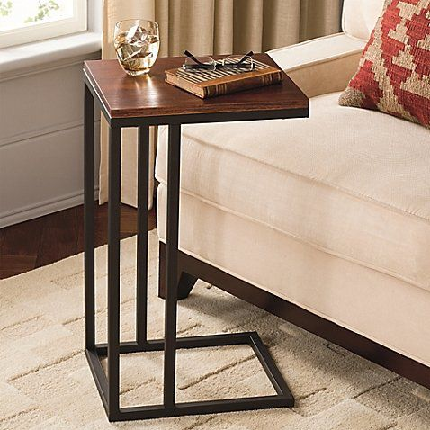 Contemporary Style Black and Tan Hamilton Narrow C Table Constructed From Powder-coated Steel with Wooden Top, Perfect for Use As an Accent Table or Work Station