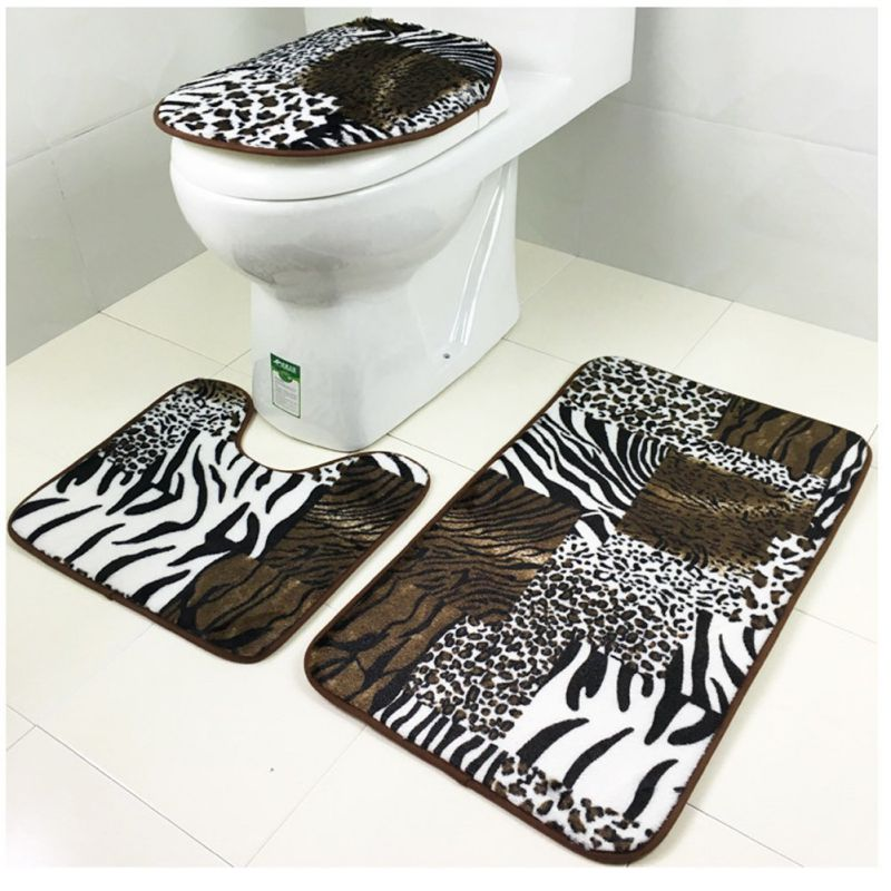 Coral Velvet Mat Set Toilet Cover Set Non Slip Bathroom Carpet Rug, Set of 3 (animal)