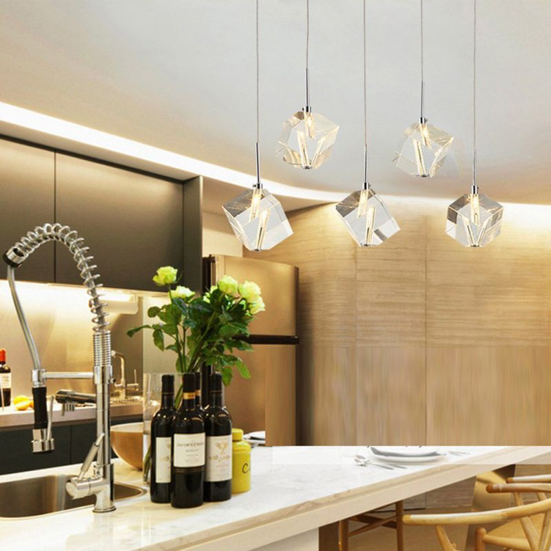 DINGGU™ Modern Lighting Island Crystal Chandelier Pendant Lamp Fixtures 5 Lights Halogen Bulbs Included