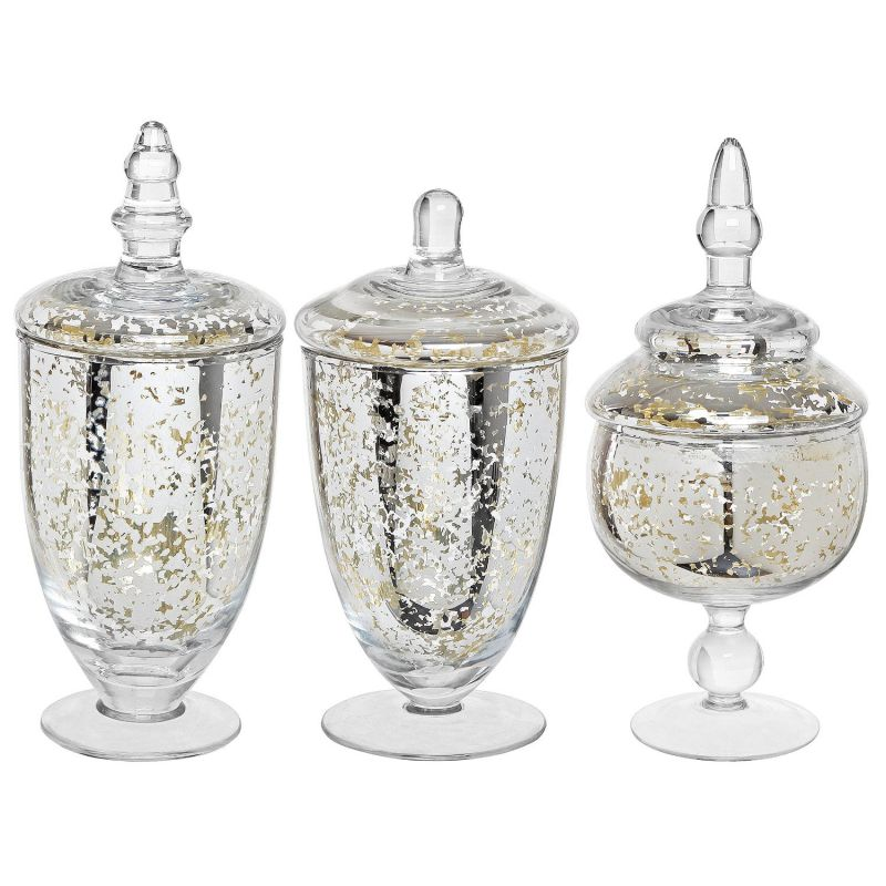 Decorative Mercury Silver Glass Apothecary Jars / Wedding Centerpiece / Footed Candy Dishes - 3 Piece Set