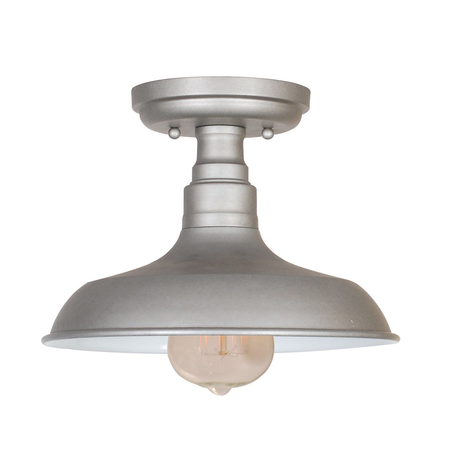 Design House 519876 Kimball 1 Light Semi Flush Mount Ceiling Light, Galvanized Steel Finish