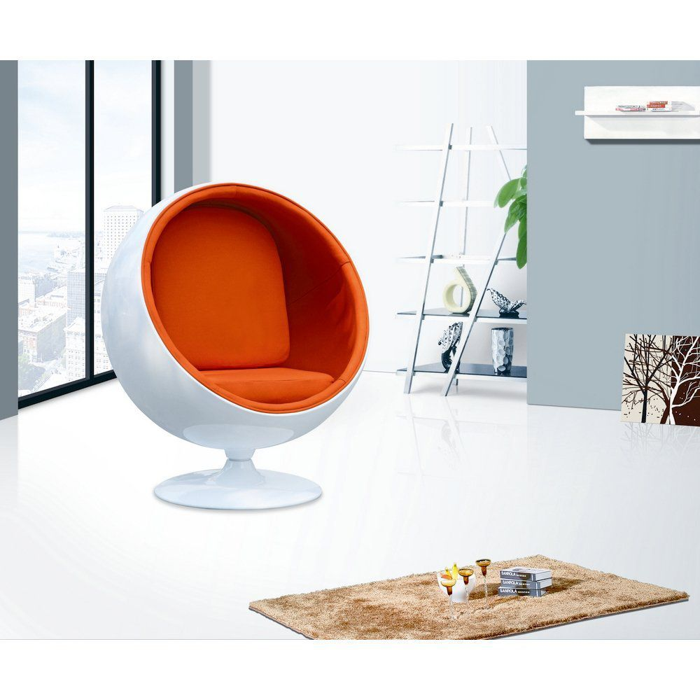 Designer Modern Eero Aarnio Ball Chair with Orange Interior - With
