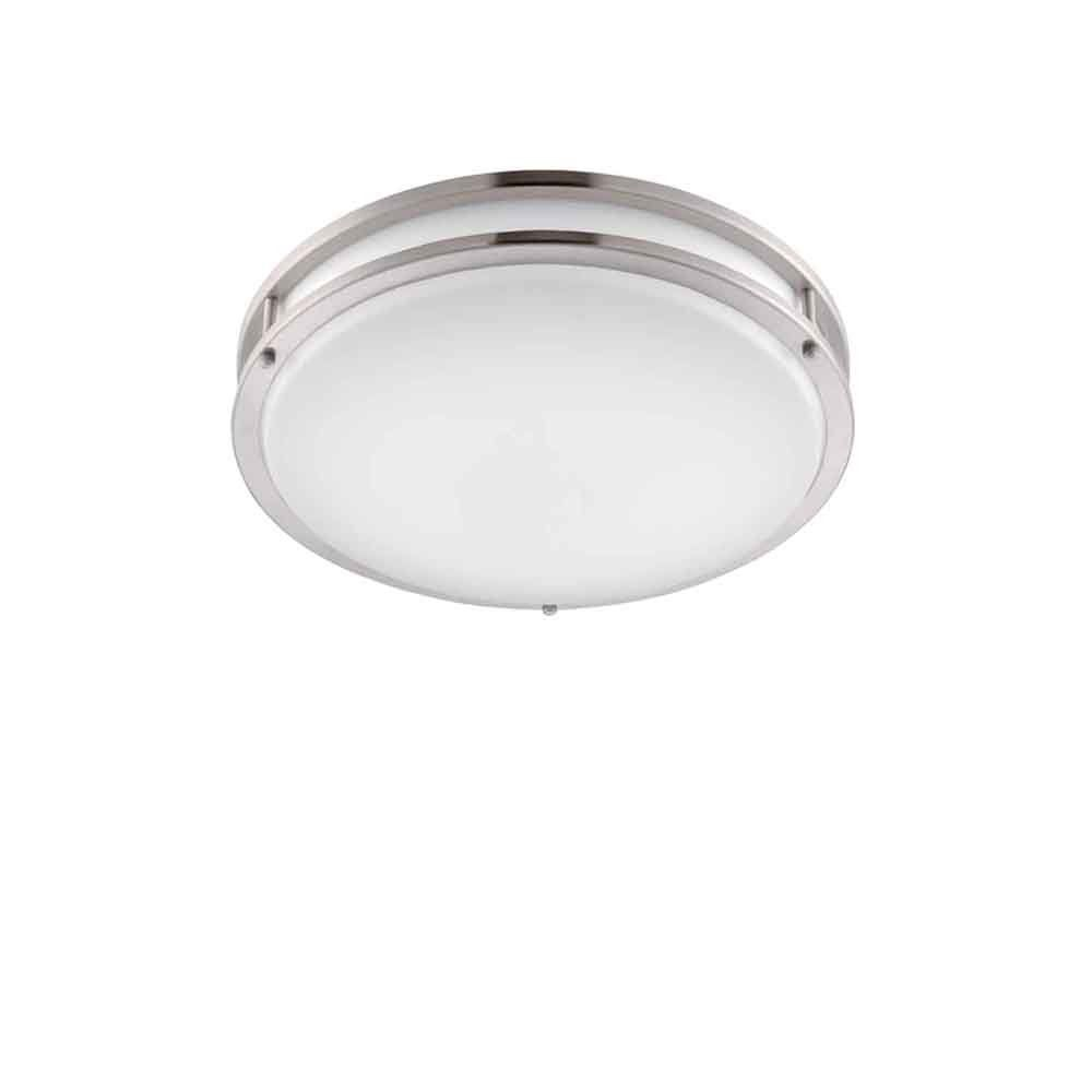 "Designers Fountain EV1410LED-BN Low Profile LED Flush Mount Ceiling Lighting Fixture, 10"", Brushed Nickel/White"
