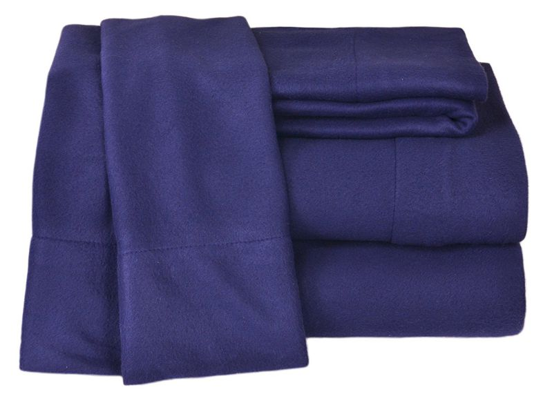 Elite Home Winter Nights Fleece Extra Plush 4-Piece Sheet Set, Queen, Navy