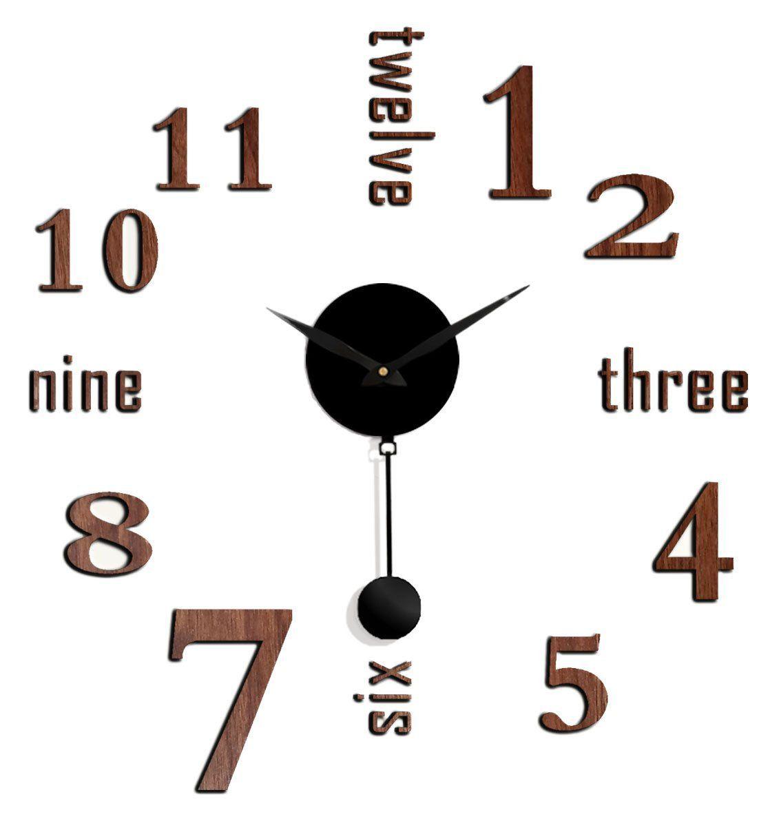 "Faux Brown Wood DIY Battery Powered Adhesive Pendulum Wall clock - 25"" x 25"""