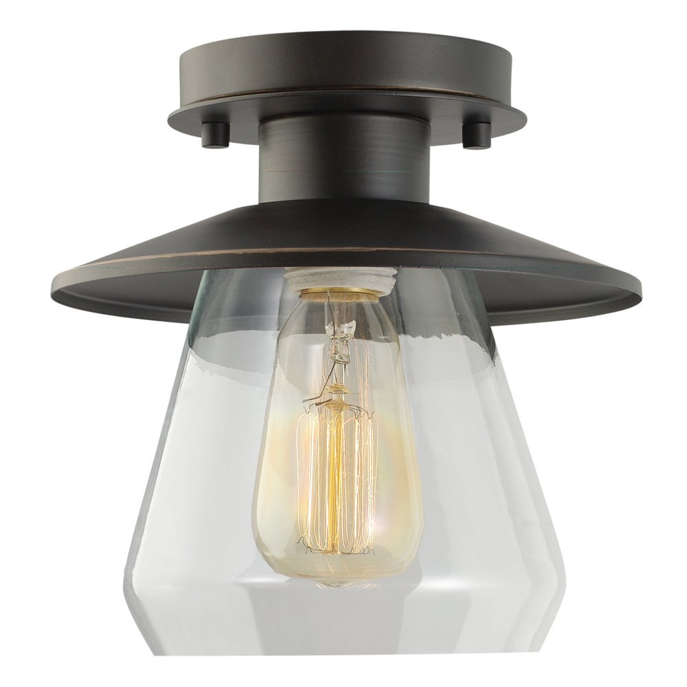 Globe Electric Vintage Semi-Flush Mount Ceiling Light, Oil Rubbed Bronze Finish, Clear Glass Shade, 1x A19 60W Bulb (sold separately), 64846