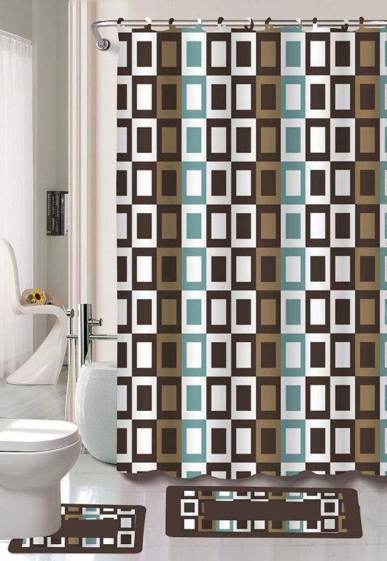 Gorgeous Home 15PC CHOCOLATE BROWN CHECKERS SQUARES #J4 DESIGN BATHROOM BATH MATS SET RUG CARPET SHOWER CURTAIN HOOKS NON-SLIP