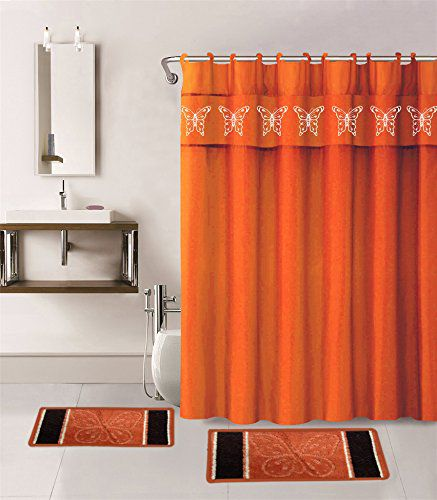 Gorgeous Home 15PC ORANGE BUTTERFLY DESIGN BATHROOM BATH MATS SET RUG CARPET SHOWER CURTAIN HOOKS NON-SLIP