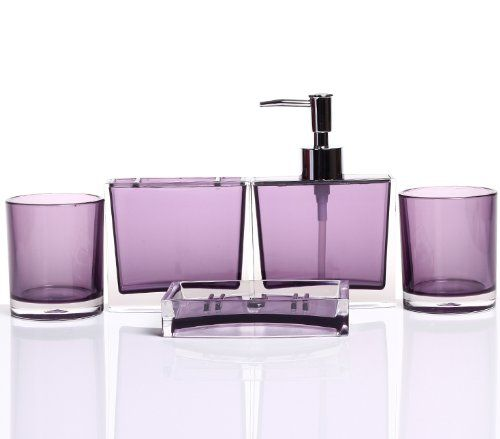 HQdeal Luxurious Bathroom Accessory Acrylic Set of Five Pieces- Purple