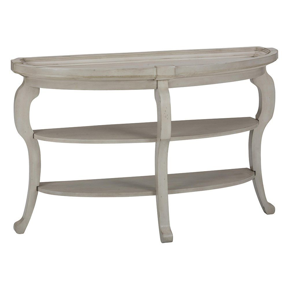 Jofran Sebastian Demilune Sofa Table in Antique Cream